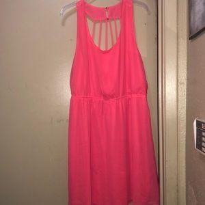 Women's bright neon glow pink midi dress